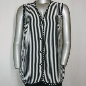 Vintage Stripe Polka Dot Sleeveless Tunic 14W